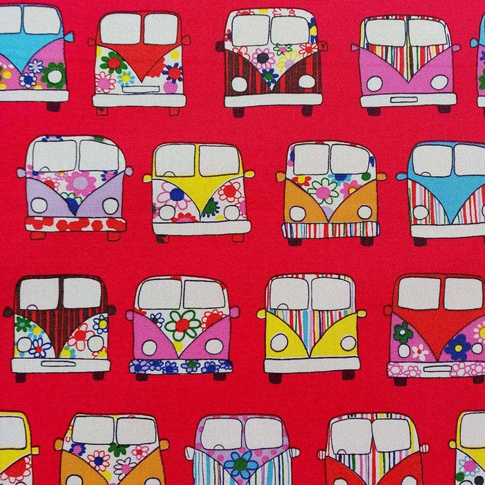Red Campervan Cotton Print