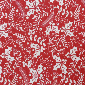 Red White Holly Pattern Cotton Print - Wide | Ab Fab Textiles
