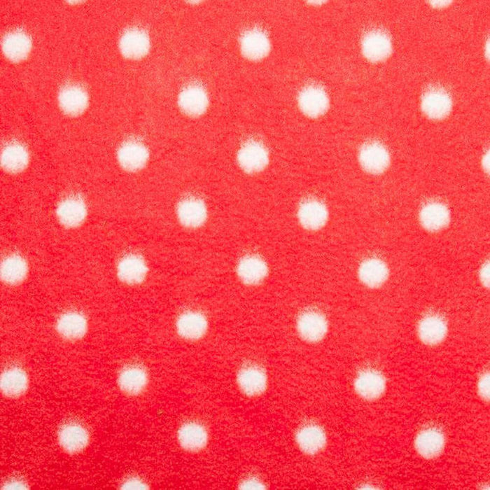Red with White Dots Anti Pilling Polar Fleece