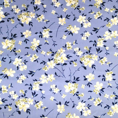 Simply Jasmine on Grey Cotton Print | Ab Fab Textiles