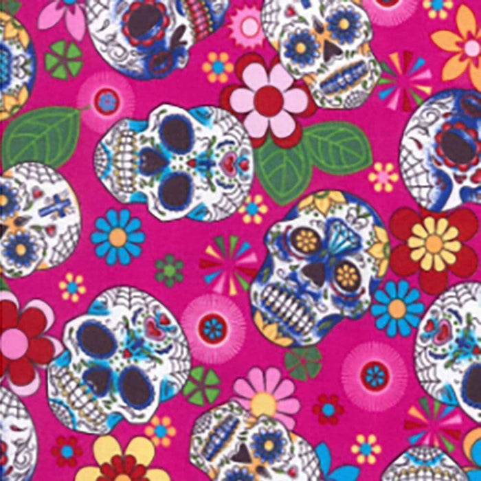 Day of the Dead Skulls on Cerise Cotton Print