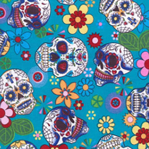 Day of the Dead Skulls on Turquoise Cotton Print | Ab Fab Textiles