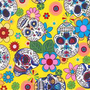 Day of the Dead Skulls on Yellow Cotton Print | Ab Fab Textiles