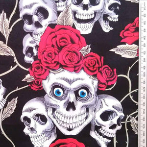 Black Skulls and Roses Cotton Print | Ab Fab Textiles