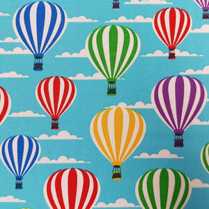 Turquoise Hot Air Balloons Cotton Print - [variant_title] - Ab Fab Textiles