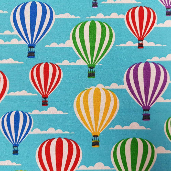 Turquoise Hot Air Balloons Cotton Print