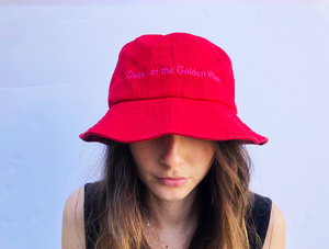 Queen of the Golden West Red Embroidered Bucket Hat
