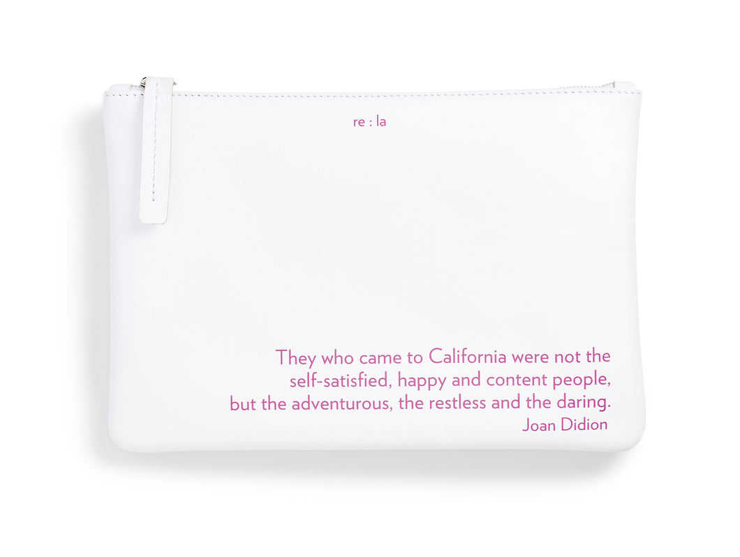 Joan Didion White Leather Pouch