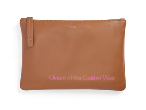 Queen of the Golden West Cognac Leather Pouch