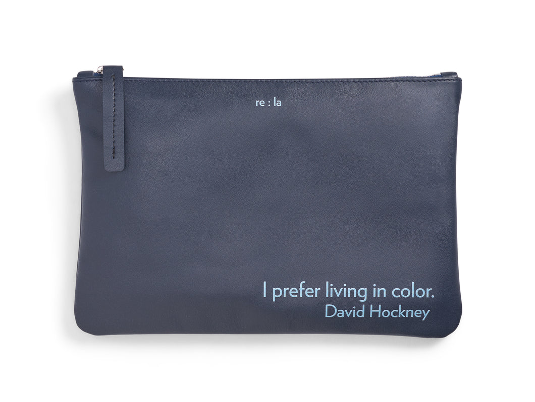 David Hockney Navy Leather Pouch