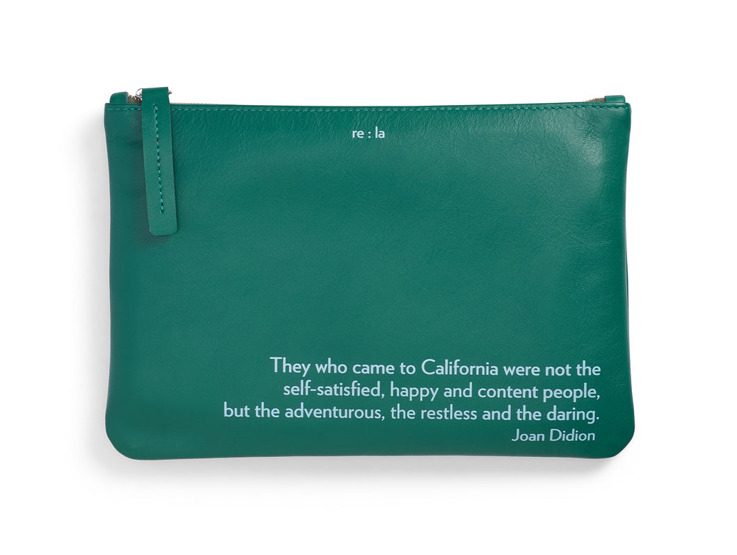Joan Didion Forest Green Leather Pouch