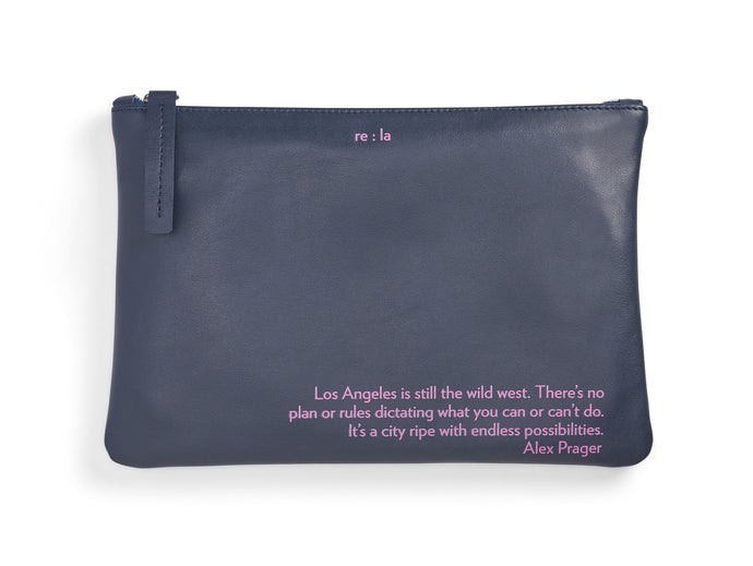 Alex Prager Navy Leather Pouch
