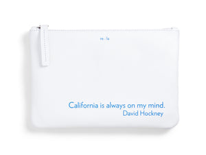 David Hockney White Leather Pouch