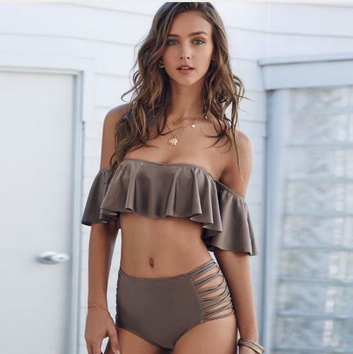 Off-Shoulder Hollow Out Push Up Swimwear