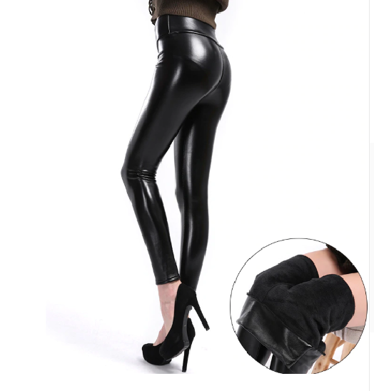 Solid High Waist Leather Punk Leggings