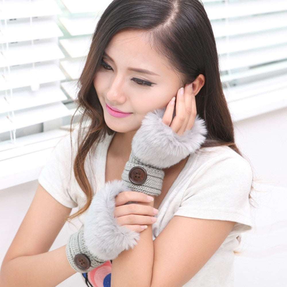 Rabbit Fur Wrist Fingerless Gloves