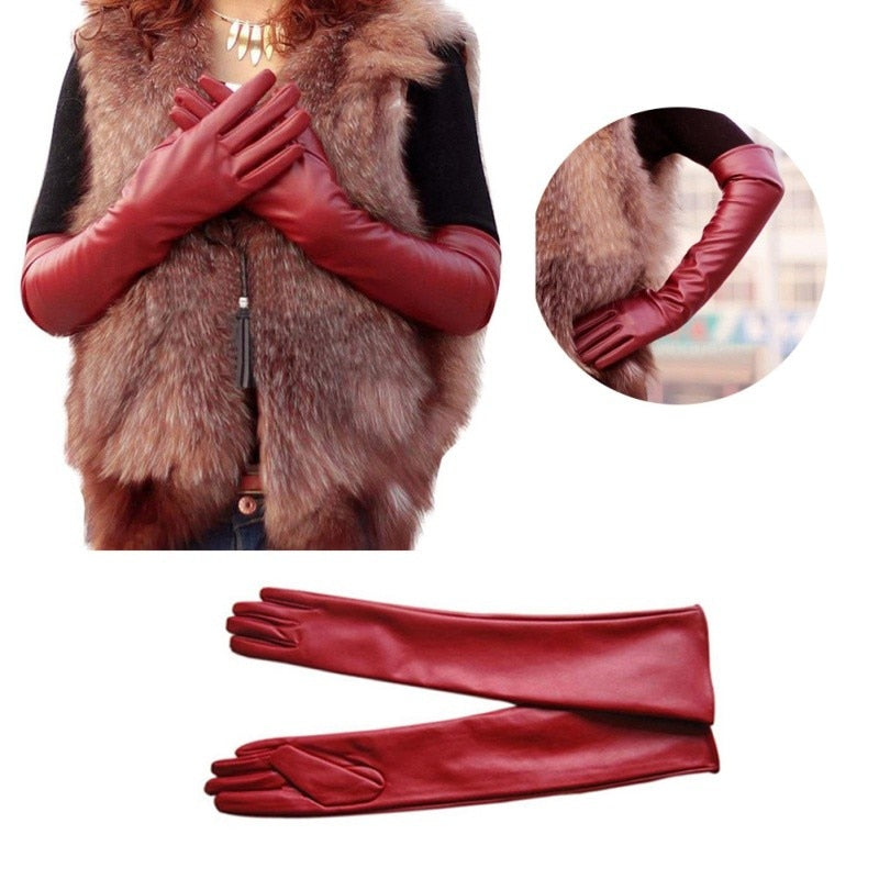 Faux Leather Elbow Gloves