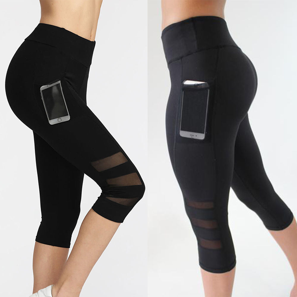 Calf Length Black Mesh Leggings