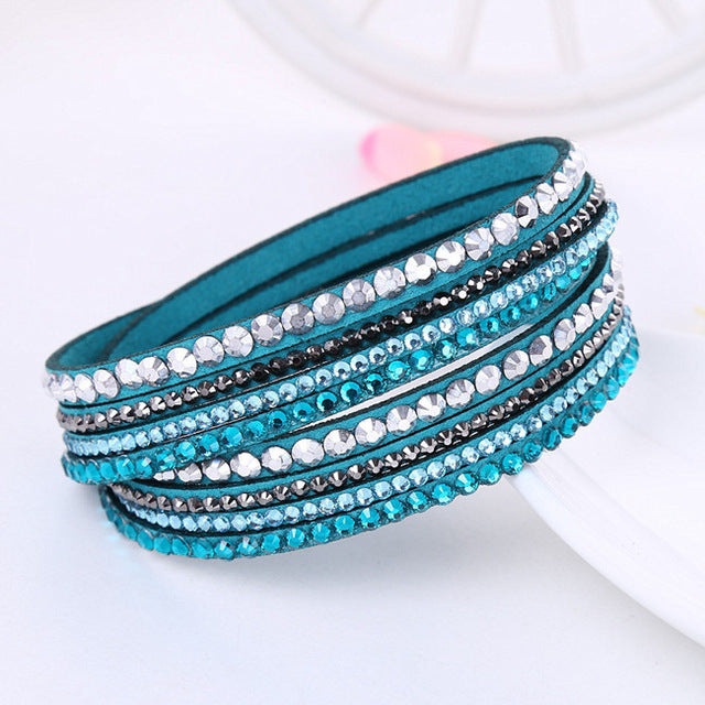 Leather Multilayer Crystal Bracelet