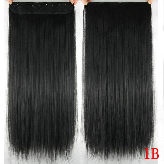 60cm Long Straight Women Clip In Hair Extensions