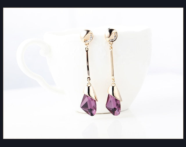 Classic Elegant Long Earrings For Women Fashion Geometric Crystal Gold Color Water Drop Earring