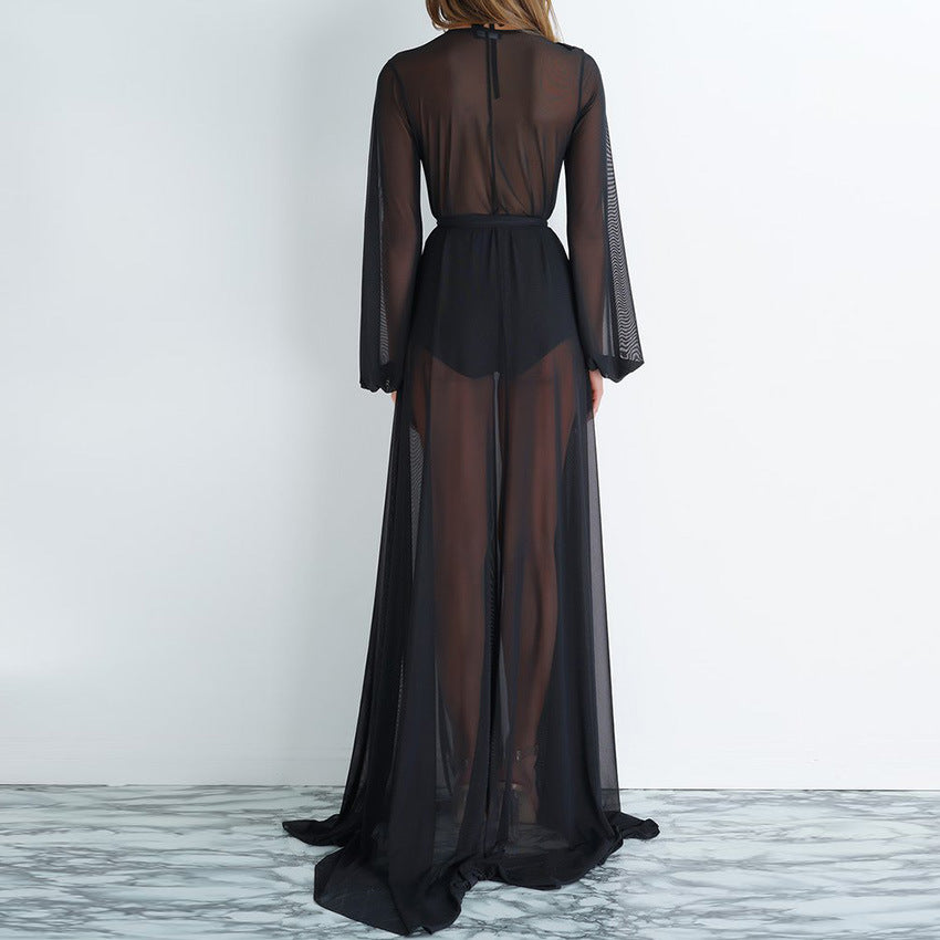 Mesh Black Floor Length Cover Up
