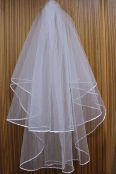 Two Layer Ribbon Edge White Wedding Veil With Comb