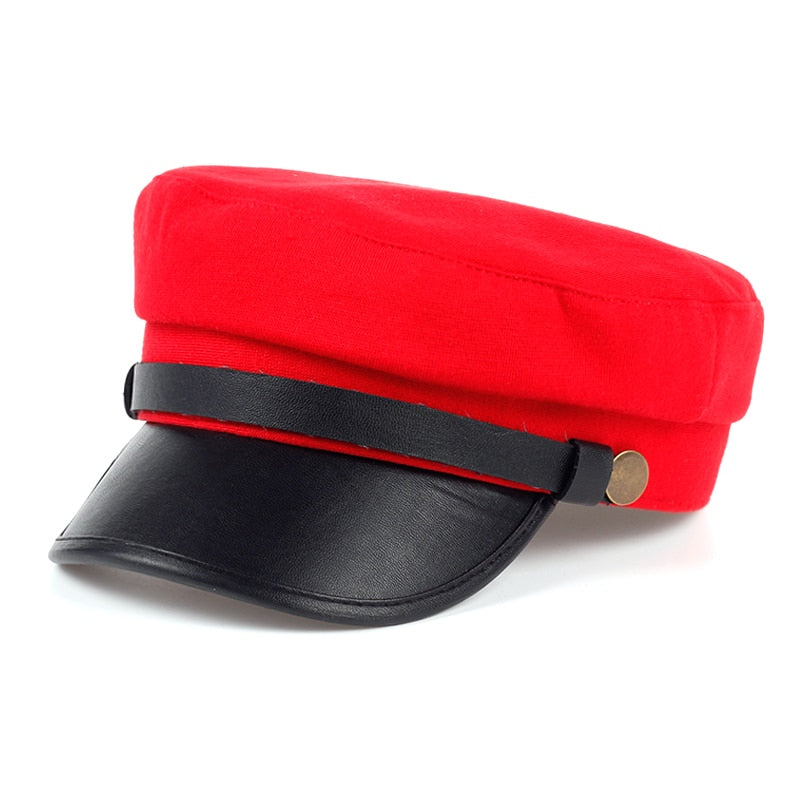 Black and Red Beret Cap
