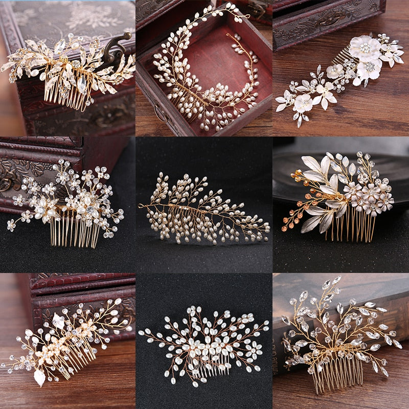 Gold Crystal Wedding Hair Comb