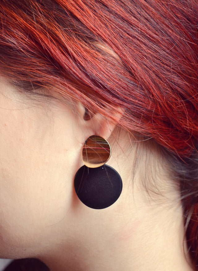 Black-Gold Round Drop Earring