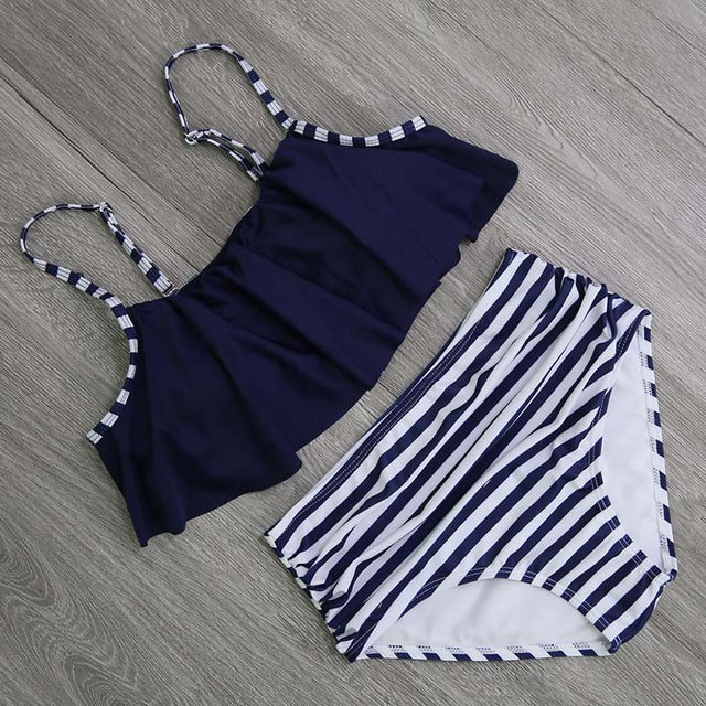 High Waist Halter Retro Bikini Set