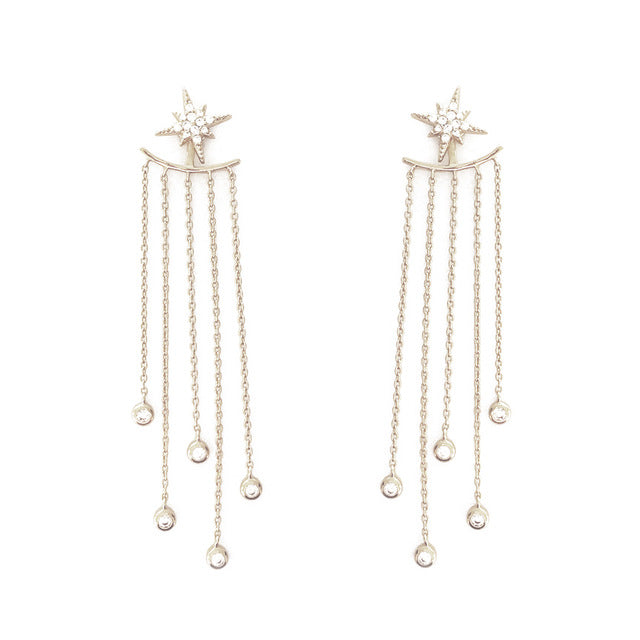 Long Tassel Crystal Earrings