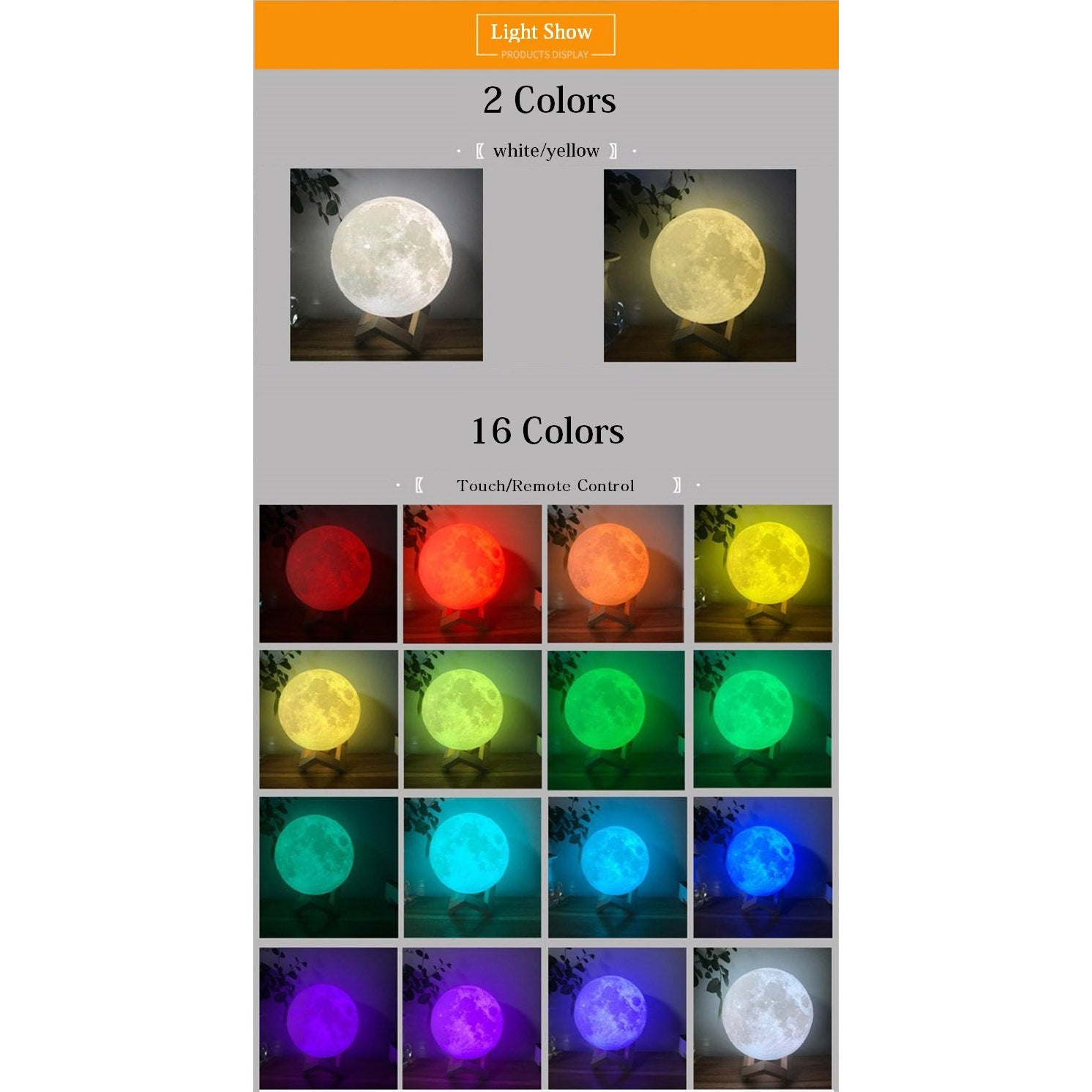 Multi Colored Rechargeable Moon Lamp