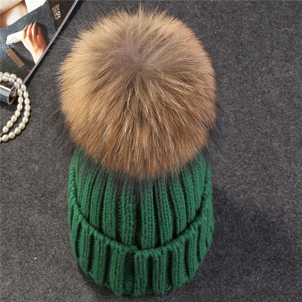 Pom Ball Knitted Skull Cap