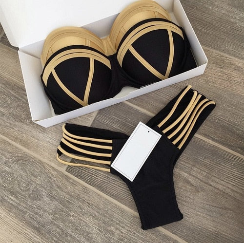 Gold Stamped Padded Swimsuit