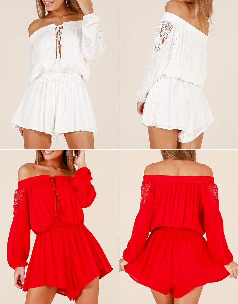 Offshoulder Lace Up Rompers