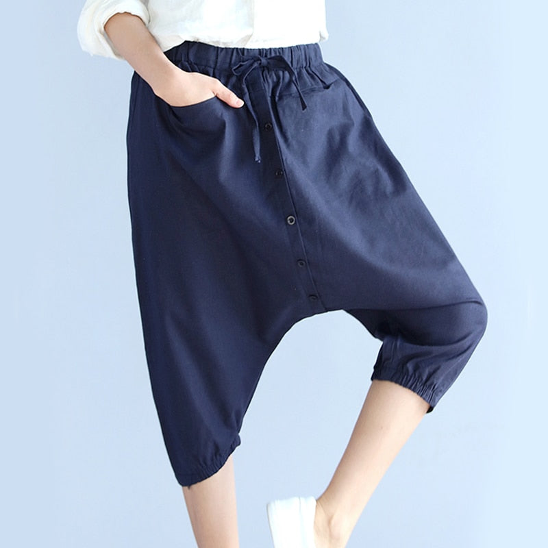 Calf Length Loose Harem Pants