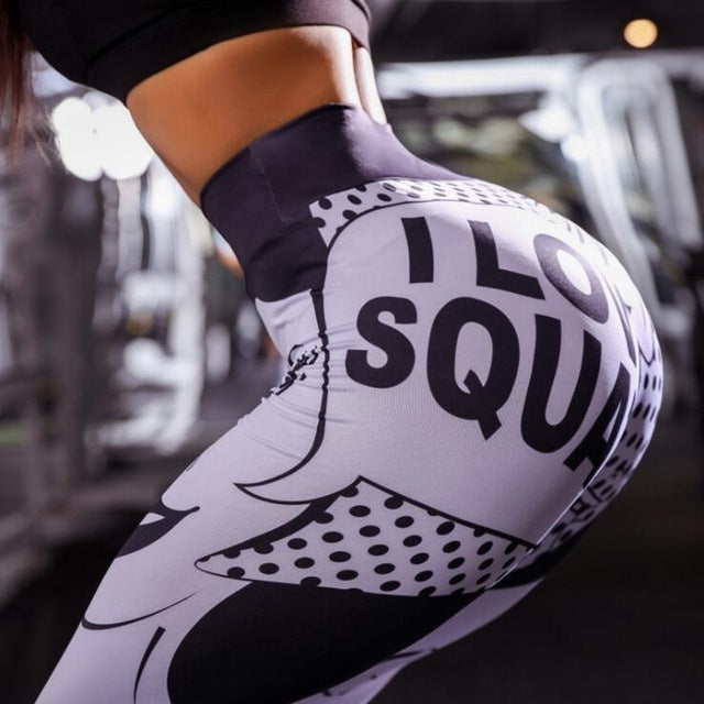 Love Squats 3d Printed Yoga Leggings