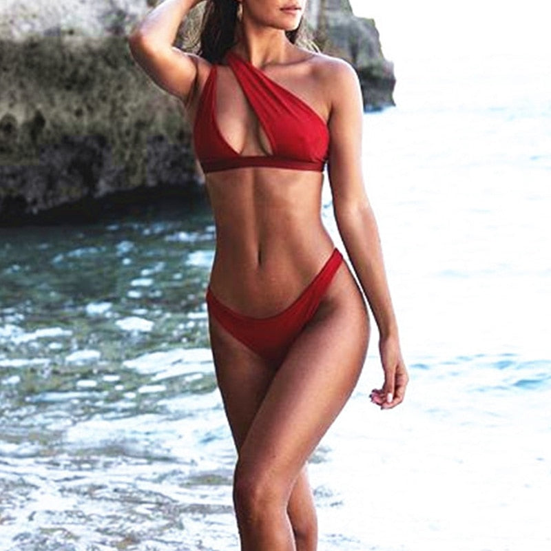 One shoulder Buckle High Cut Swimsuit