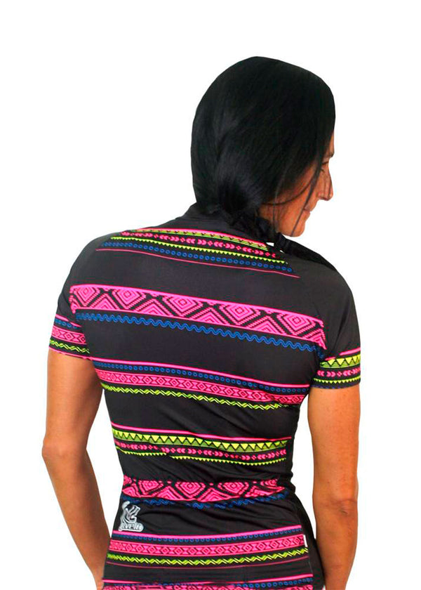 Women's Team Stretch Jersey Tribal Collection Black