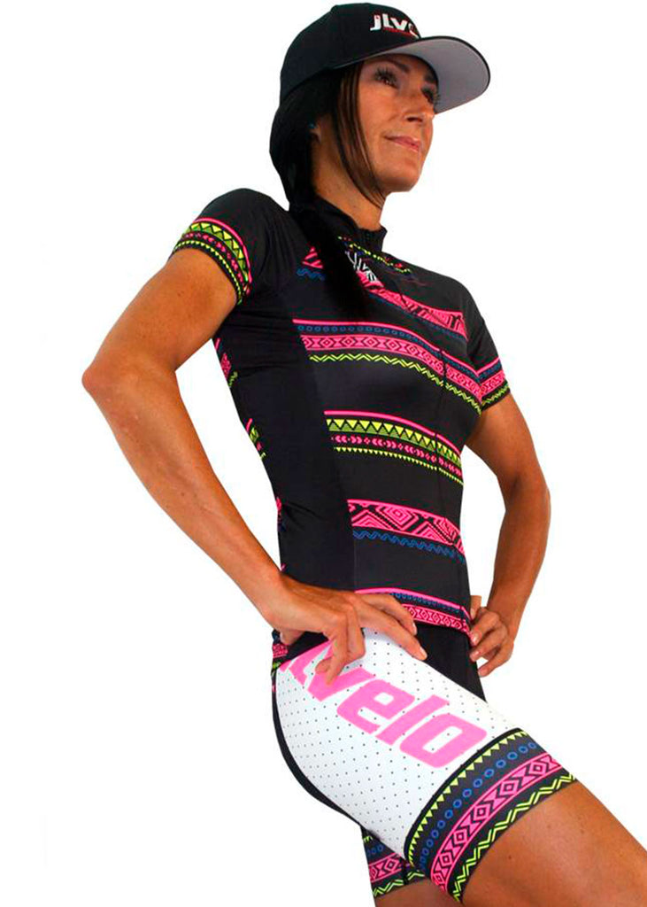 custom suit suits unisuit AIO all in one zootie team store customized Women's SDP Bibs Tribal Collection White JL Velo $100-$200, Bargain, Bibshorts, The Tribal Collection, Women's $79.95 Size XSmall  JLAthletics