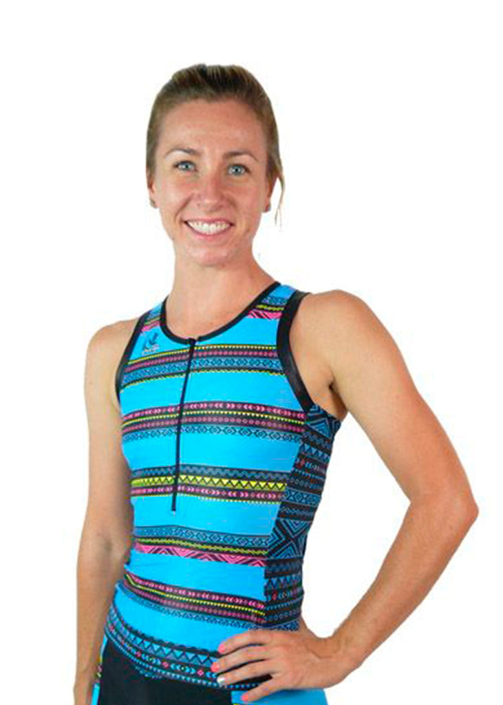 Tech Shirts Technical Shirts Performance Top Performance Tank Workout Top Long Sleeve Short Sleeve Tshirt Women's Elite Tri Top Tribal Collection Blue JL Velo $100-$200, The Tribal Collection, Tops, Women's $84.95 Size XSmall  JLAthletics