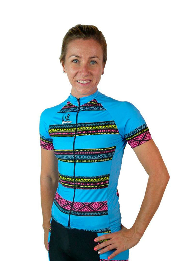 Women's Team Stretch Jersey Tribal Collection Blue