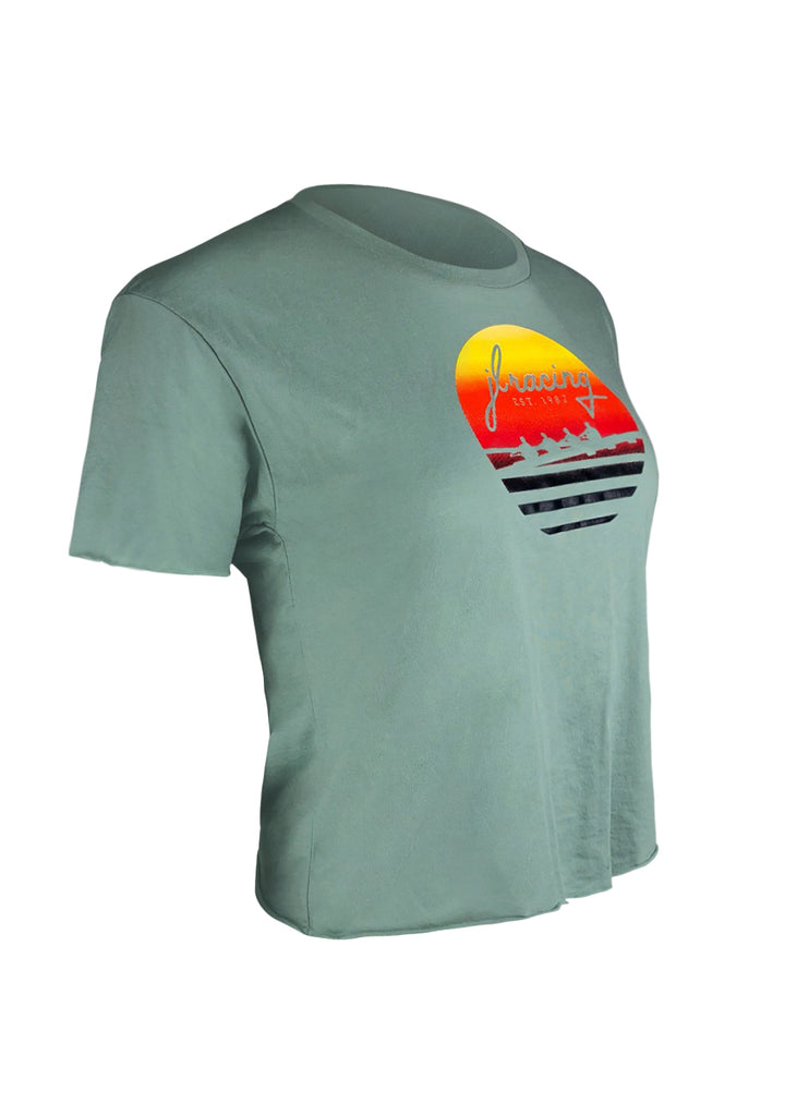 Tech Shirts Technical Shirts Performance Top Performance Tank Workout Top Long Sleeve Short Sleeve Tshirt Women's Sunset Crop Tee Green JL Racing $10-$50, Short Sleeve, Tee Shirts, Tops, What's New, Women's $24.95 Size XSmall  JLAthletics