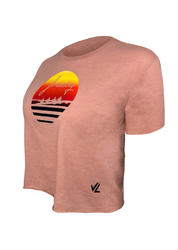 Women's Sunset Crop Tee Pink