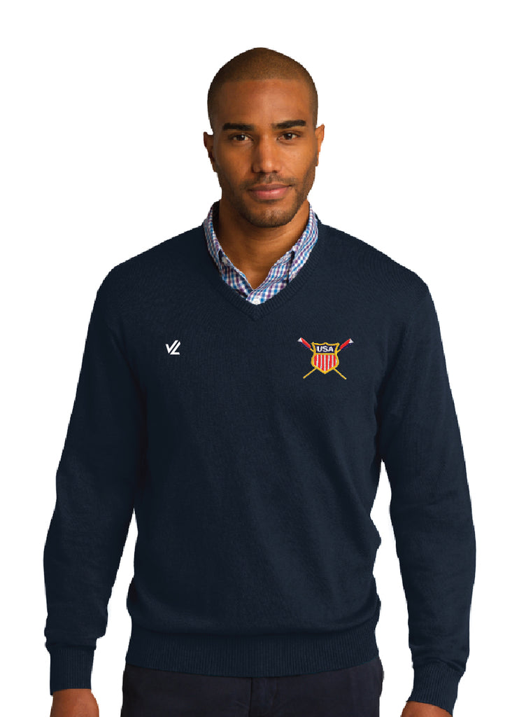 USRowing Crest V-Neck Sweater