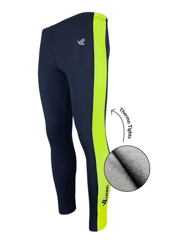 bottoms tights trou workout pant sweats sweatpants shorts capri bibshorts Thermo Vertical Tights Navy/Hi-Viz JL Racing $10-$50, Bottoms, Drywick Tights, Hi-Viz Gear, Leggings, Men's, Tights, What's New, Women's $49.95 Size XSmall  JLAthletics