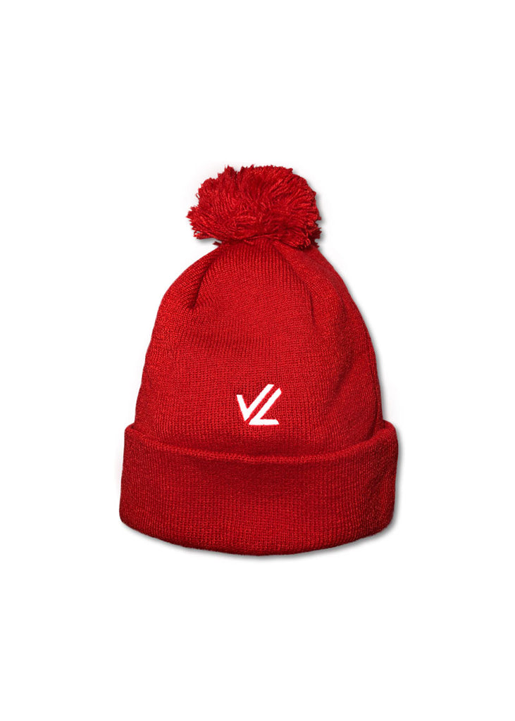 Red Knit Logo Pom Pom Beanie Red