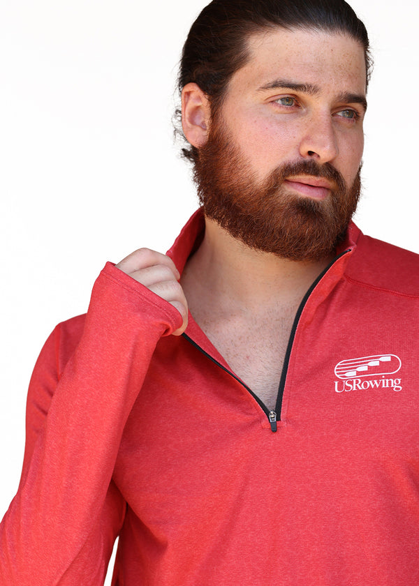 USRowing Men's Performance Quarter Zip Red