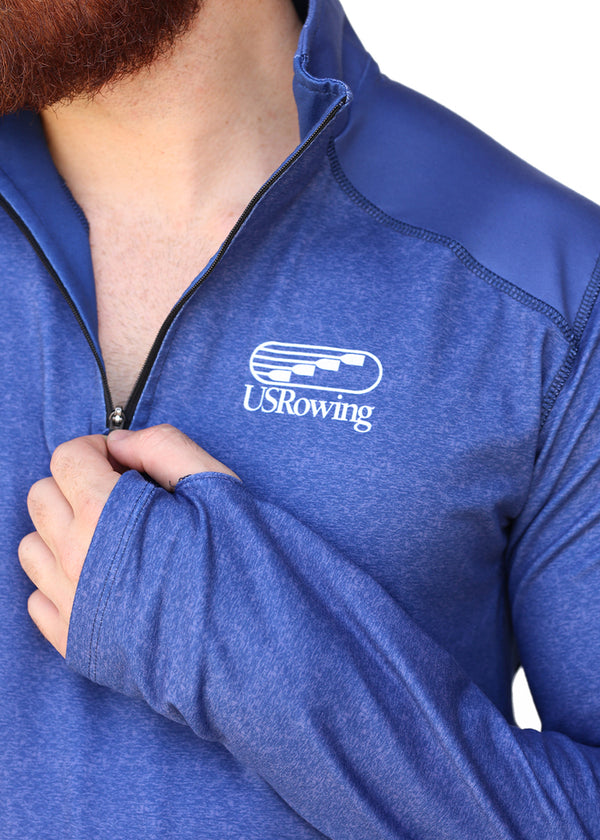 USRowing Men's Performance Quarter Zip Navy